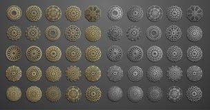 Vettore islamico dell'ornamento, motiff persiano elementi rotondi islamici del modello di 3d il Ramadan Insieme geometrico del mo illustrazione vettoriale