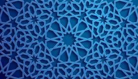 Vettore islamico dell'ornamento, motiff persiano elementi rotondi islamici del modello di 3d il Ramadan Ornamentale circolare geo Immagine Stock
