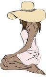 Vettore isolato della donna nella grande seduta di inginocchiamento del cappello di Sun Immagini Stock