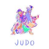 Vettore isolato disegnato a mano del tiro di judo Fotografia Stock