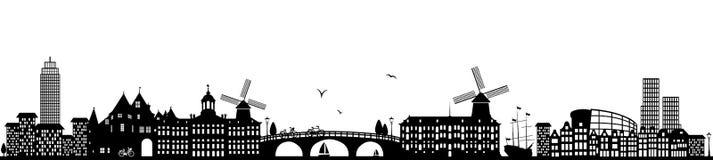 Vettore isolato il nero olandese dell'orizzonte di Amsterdam royalty illustrazione gratis