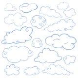 Vettore isolato insieme dell'icona di scarabocchio della nuvola Immagine Stock