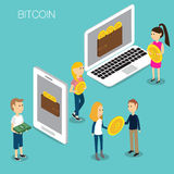 Vettore isometrico 3D di concetto di Bitcoin Fotografia Stock Libera da Diritti
