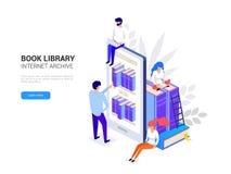 Vettore isometrico 3d di concetto online di istruzione illustrazione di stock