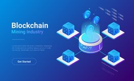 Vettore isometrico dei minatori di Bitcoin Industria estrattiva C Illustrazione Vettoriale