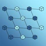 Vettore isometrico della rete della catena di blocco Fotografia Stock Libera da Diritti