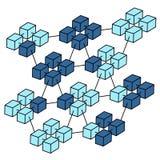 Vettore isometrico della rete della catena di blocco Immagini Stock Libere da Diritti