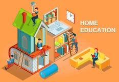 Vettore isometrico di concetto di istruzione a domicilio immagine stock libera da diritti