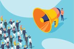 Vettore isometrico di un uomo d'affari o di un politico con il megafono che fa un annuncio ad una folla della gente illustrazione di stock