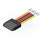 Vettore isometrico Illustratio del connettore di 16 Pin SATA Fotografia Stock