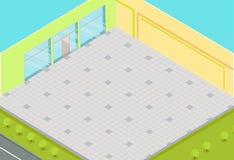 Vettore isometrico interno del supermercato vuoto royalty illustrazione gratis