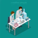 Vettore isometrico piano chimico di ricerca di esperimento del laboratorio di scienza illustrazione di stock