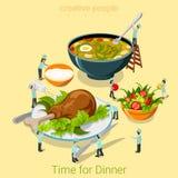 Vettore isometrico piano 3d del pasto del ristorante del caffè dell'alimento di tempo di cena Immagini Stock
