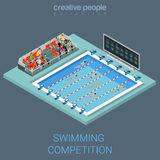 Vettore isometrico piano 3d della concorrenza interna di nuotata della piscina Fotografia Stock