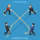 Vettore isometrico piano 3d della corda del legame della concorrenza di affari Immagini Stock
