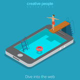 Vettore isometrico piano 3d di navigazione in Internet di WWW del telefono mobile di web Immagine Stock