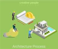 Vettore isometrico piano della casa di idea della costruzione di piano di architettura royalty illustrazione gratis
