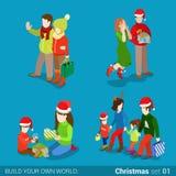 Vettore isometrico piano di Natale di acquisto del regalo di relazioni di famiglia Fotografie Stock Libere da Diritti