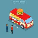 Vettore isometrico veloce di food hippie van 3d della via del caffè dell'hamburger piano Immagine Stock