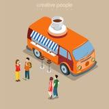 Vettore isometrico veloce di street food van 3d del caffè della caffetteria piano Fotografia Stock