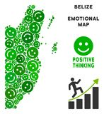 Vettore Joy Belize Map Collage degli smiley Immagini Stock