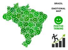 Vettore Joy Brazil Map Collage degli smiley illustrazione vettoriale