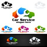 Vettore Logo Design di servizio dell'automobile con forma di riparazione automatica ed il concetto dell'automobile Immagine Stock Libera da Diritti