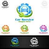 Vettore Logo Design di servizio dell'automobile con forma di riparazione automatica ed il concetto dell'automobile Immagini Stock Libere da Diritti