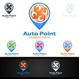 Vettore Logo Design di servizio dell'automobile con forma di riparazione automatica ed il concetto dell'automobile Fotografia Stock