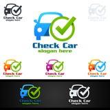 Vettore Logo Design di servizio dell'automobile con forma di riparazione automatica ed il concetto dell'automobile Fotografia Stock Libera da Diritti