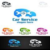 Vettore Logo Design di servizio dell'automobile con forma di riparazione automatica ed il concetto dell'automobile Fotografie Stock Libere da Diritti