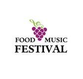 Vettore - logo di festival di musica e dell'alimento, isolato su fondo bianco Illustrazione di vettore illustrazione di stock