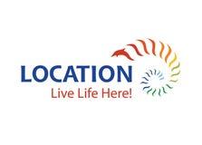Vettore - logo di promozione della città o della città, isolato su fondo bianco Illustrazione di vettore illustrazione vettoriale