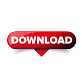 Vettore lucido del bottone di web di download rosso royalty illustrazione gratis
