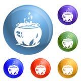 Vettore magico dell'insieme delle icone del calderone royalty illustrazione gratis