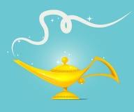 Vettore magico dorato di progettazione della lampada Immagini Stock