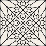 Vettore Mandala Lace Ornament Mosaic in bianco e nero Immagine Stock