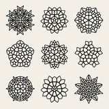Vettore Mandala Lace Ornaments Collection in bianco e nero Fotografia Stock