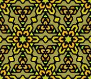 Vettore Mandala Pattern esagonale orientale floreale arrotondata variopinta senza cuciture Immagine Stock
