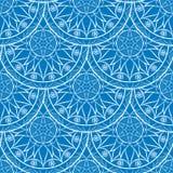 Vettore Mandala Pattern floreale blu senza cuciture Fotografia Stock Libera da Diritti