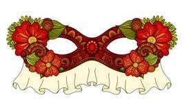 Vettore Mardi Gras Carnival Mask colorato decorato con i fiori decorativi Immagini Stock Libere da Diritti