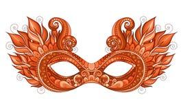 Vettore Mardi Gras Carnival Mask colorato decorato con i fiori decorativi Immagini Stock