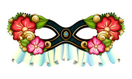 Vettore Mardi Gras Carnival Mask decorato con i fiori decorativi royalty illustrazione gratis