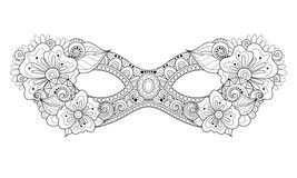 Vettore Mardi Gras Carnival Mask monocromatico decorato con i fiori decorativi Immagine Stock