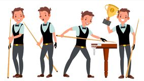 Vettore maschio del giocatore dello snooker Giocando nelle pose differenti Atleta dell'uomo billiard Torneo di campionato Evento  illustrazione di stock