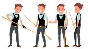 Vettore maschio del giocatore dello snooker Nell'azione Gioco professionale del giocatore Stanza di stagno billiard Illustrazione royalty illustrazione gratis