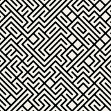 Vettore Maze Geometric Seamless Pattern in bianco e nero Fotografia Stock