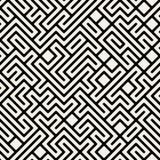 Vettore Maze Geometric Seamless Pattern in bianco e nero Fotografia Stock