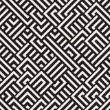 Vettore Maze Lines Geometric Pattern diagonale in bianco e nero senza cuciture Fotografia Stock