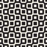 Vettore Maze Lines Pattern irregolare arrotondato in bianco e nero senza cuciture Immagini Stock Libere da Diritti